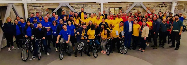 Photo of Smith School of Business students donating 18 bikes to the YMCA of Eastern Ontario.